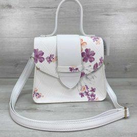 Женская сумка Оби белая с цветочным рисунком