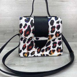 Женская сумка Оби черно-белая с разноцветным леопардом