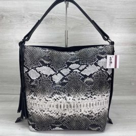 Женская сумка Шерри черно белая змея