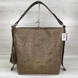Женская сумка Шерри кофейная мокко рептилия