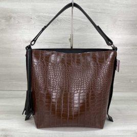 Женская сумка Шерри коричневый крокодил
