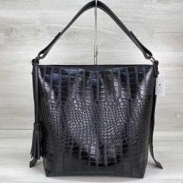 Женская сумка Шерри черный крокодил