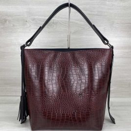 Женская сумка Шерри бордовый крокодил