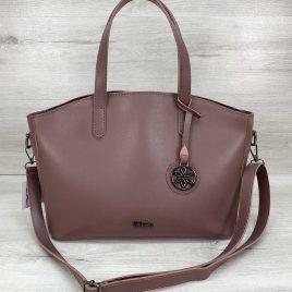 Женская классическая сумка-шоппер Сью темно-пудрового цвета