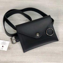 Женская сумка на пояс Perl черного цвета