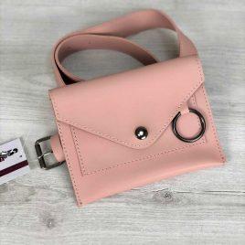 Женская сумка на пояс Perl пудрового цвета
