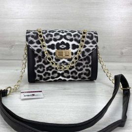 Сумка женская Бэсс черно-белый леопард