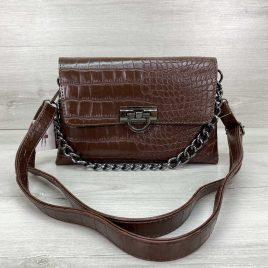Женская сумка клатч Келли коричневый крокодил