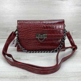 Женская сумка клатч Келли красный крокодил
