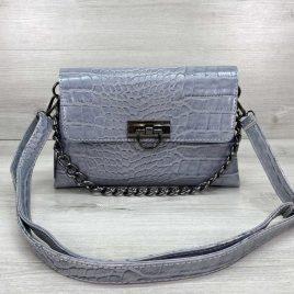 Женская сумка клатч Келли голубой крокодил