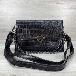 Женская сумка клатч Келли черный крокодил