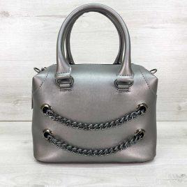 Женская серебряная сумка Jean саквояж среднего размера