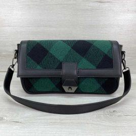 Женская черная сумка багет Наоми в зеленую клетку