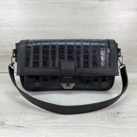 Женская черная сумка багет Наоми черный крокодил