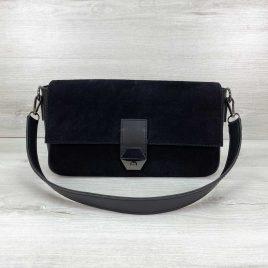 Женская черная замшевая сумка багет Наоми натуральный замш