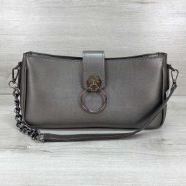 Женская серебряная сумка-багет Эвери клатч с кольцом