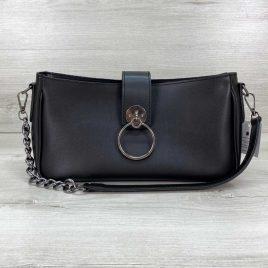 Женская базовая черная сумка-багет Эвери клатч с кольцом