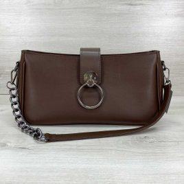 Женская коричневая сумка-багет Эвери клатч с кольцом