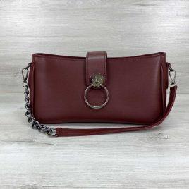 Женская бордовая сумка-багет Эвери клатч с кольцом