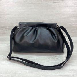Женская черная сумка пельмень в стиле Bottega мягкий пауч клатч