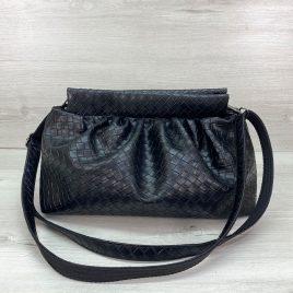 Женская черная сумка пельмень в стиле Bottega плетеный пауч клатч