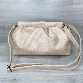 Женская бежевая сумка пельмень в стиле Bottega плетеный пауч клатч