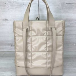 Женская бежевая сумка Бруки стеганая сумка с двумя ручками