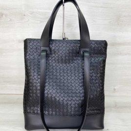 Женская черная сумка Бруки плетеная сумка с двумя ручками