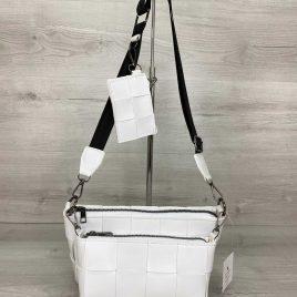 Белый плетеный клатч Салли комплект сумок 3 в 1