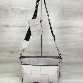 Серый плетеный клатч Салли комплект сумок 3 в 1