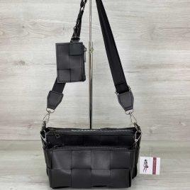 Плетеный черный клатч Салли комплект сумок 3 в 1