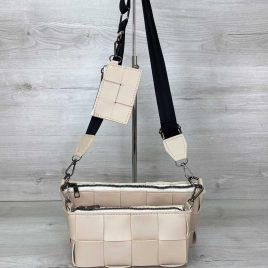 Бежевый плетеный клатч Салли комплект сумок 3 в 1