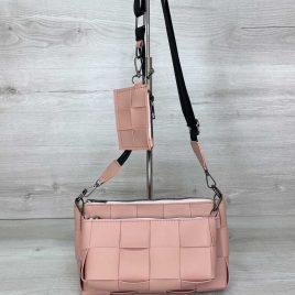 Розовый плетеный клатч Салли комплект сумок 3 в 1