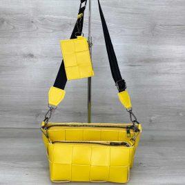 Плетеный желтый клатч Салли комплект сумок 3 в 1