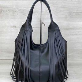 Женская черная сумка с бахромой Хелен