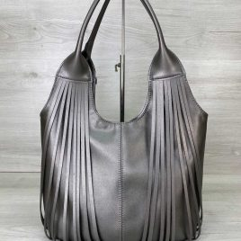 Женская серебряная сумка с бахромой Хелен