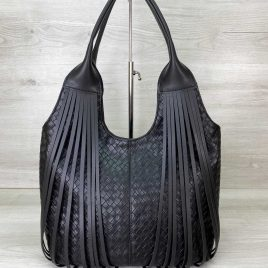 Женская черная сумка плетеная с бахромой Хелен