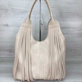 Женская бежевая сумка плетеная с бахромой Хелен