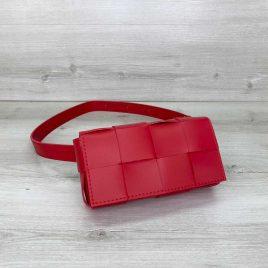 Красная сумка на пояс Энди плетеный поясной клатч