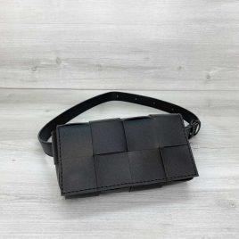 Черная сумка на пояс Энди плетеный поясной клатч