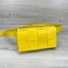 Желтая сумка на пояс Энди плетеный поясной клатч