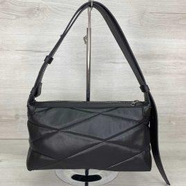 Женская сумка багет Догги черная стеганая сумка