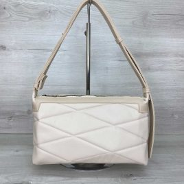Женская сумка багет Догги бежевая стеганая сумка