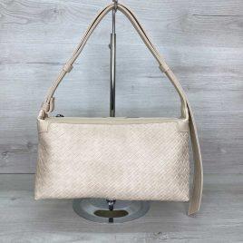 Женская сумка багет Догги бежевая плетеная сумка