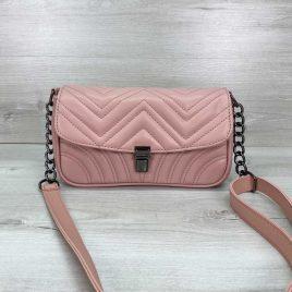 Женская пудровая сумка Джуди стеганый розовый клатч