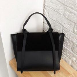 Сумка Ровена в комбинации с замшей черного цвета