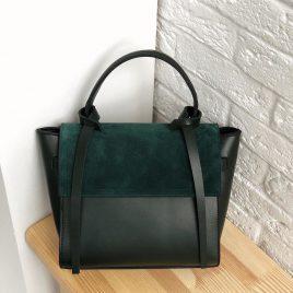 Сумка Ровена в комбинации с замшей зеленого цвета