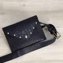 Женская сумка на пояс темно-синий крокодил