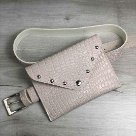Женская сумка на пояс кремовый крокодил