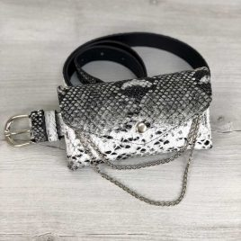 Женская сумка на пояс Майлин черно-белая змея